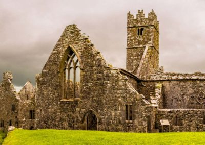 Landscapes Of Ireland. Ruins Of Ross Errilly Friary Convent In G